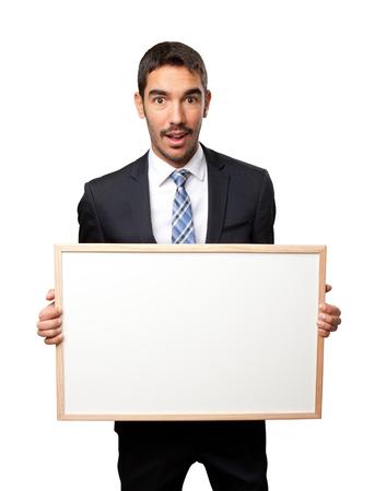 namecard: Surprised businessman holding a namecard
