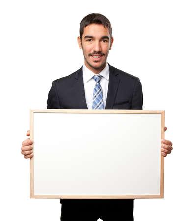 namecard: Proud businessman holding a namecard Stock Photo