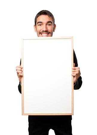 namecard: Glad businessman holding a namecard