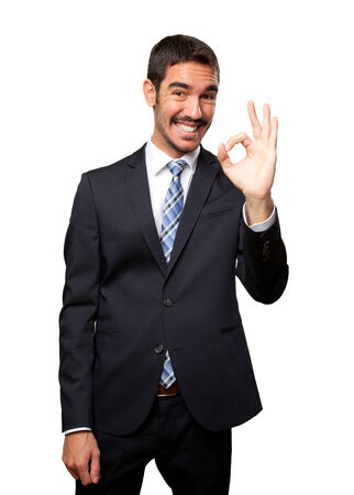 all right: Happy businessman all right gesture