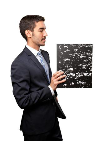 glad: Glad businessman savings files