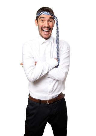Drunk businessman laughing
