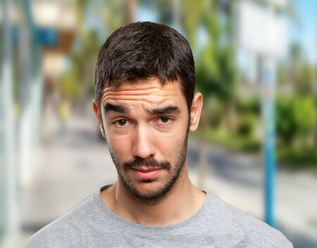Young man with challenge face Stock Photo