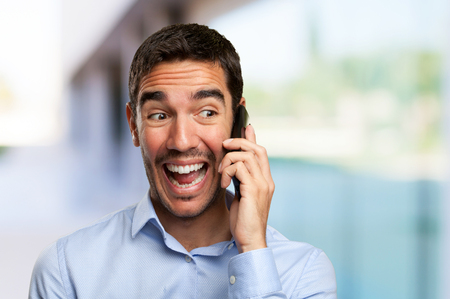 one people: Funny young man calling on mobile phone