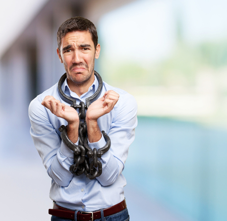 powerless: Stressed businessman