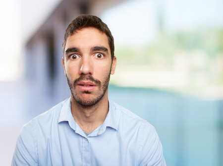 shocked: Close up of a shocked young man Stock Photo