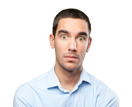 Close up of a shocked young man Stock Photo