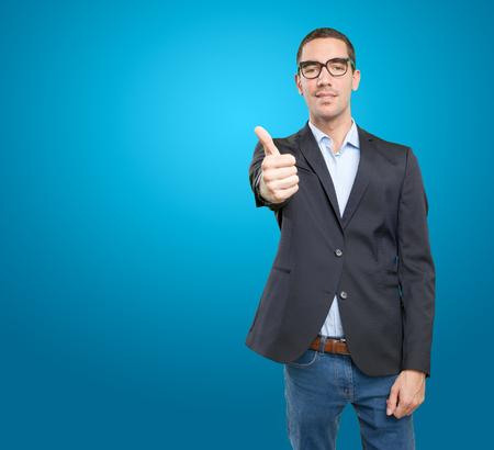 okay: Satisfied businessman with okay gesture