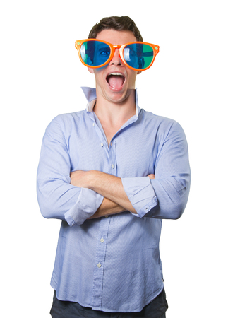 cool guy: Cool guy with a toy glasses on white background