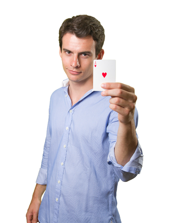 ace of hearts: Young man holding an ace of hearts on white background