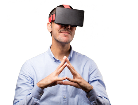 Young man using a virtual glasses