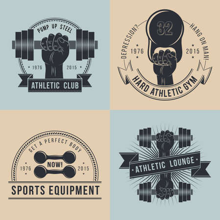 Logos for sport athletic club in vintage style. Hand with dumbbell logo. Stock Illustratie