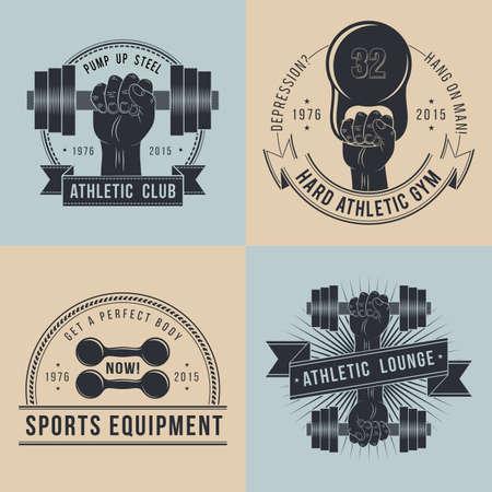 gimnasio: Logos para el deporte del club deportivo en el estilo vintage. Mano con el logotipo de mancuerna.