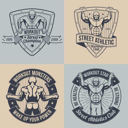 レトロなスタイルでエンブレムの通りトレーニング。ビンテージ フィットネス ロゴ。  イラスト・ベクター素材