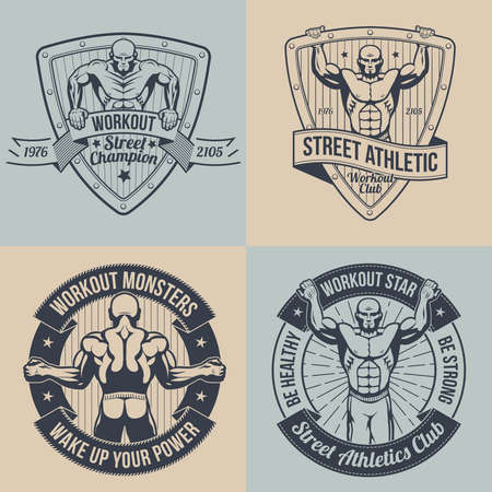 Emblem street workout in retro style. Vintage fitness logo.