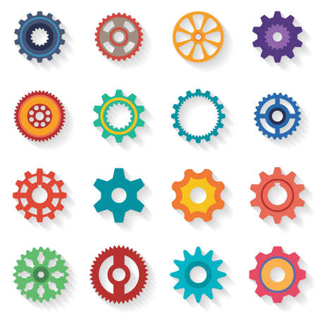 configurations: A set of cogwheels of different configurations and color in flat style. Shadows are grouped separately and can be easily removed. Illustration