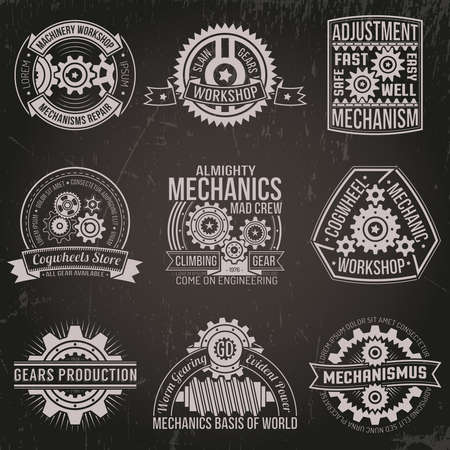 A set of vintage emblems with mechanisms, ribbons, banners. Logo of gears and mechanisms on a dark background. Background with scratches on a separate layer. Illustration