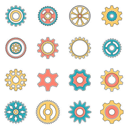 pinion: Icons gear wheel in style lineart. Pinion for gear.