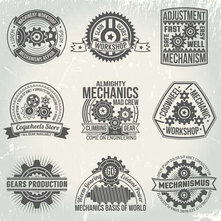Logo's met versnellingen en mechanismen. Emblemen op het gebied van mechanica en versnellingen in een retro-stijl. Vintage mechanismen. De tekst is gemakkelijk te vervangen door de jouwe. Achtergrond met krassen op een aparte laag. Stockfoto - 54510383