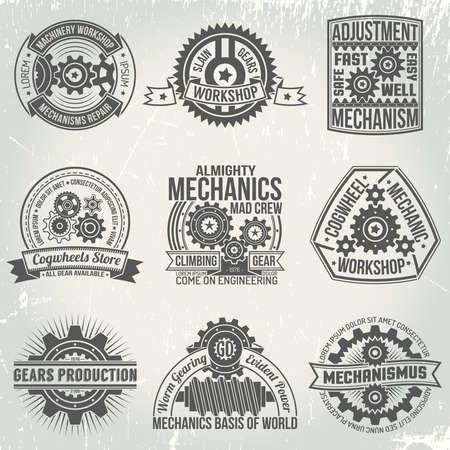 Logo's met versnellingen en mechanismen. Emblemen op het gebied van mechanica en versnellingen in een retro-stijl. Vintage mechanismen. De tekst is gemakkelijk te vervangen door de jouwe. Achtergrond met krassen op een aparte laag.