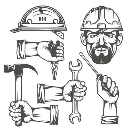 construction helmet: Hands with work tools. Working head in a helmet. Construction helmet.