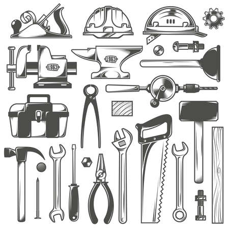 Set of working tools in vintage style.