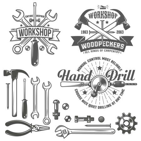 Vintage emblem repair workshop and tool shop in vintage style. Working tools. Text on a separate layer - easy to replace.