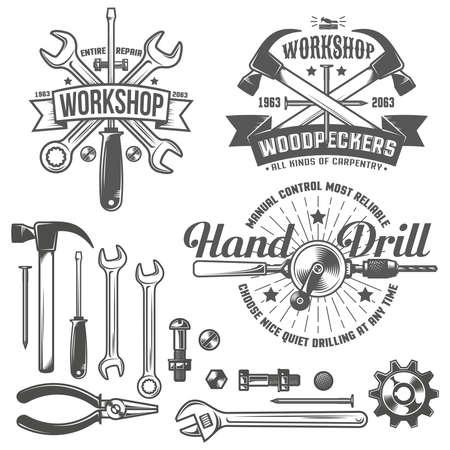 Vintage-Emblem-Werkstatt und Werkzeugbau im Vintage-Stil. Arbeitsgeräte. Text auf einer separaten Ebene - leicht zu ersetzen. Vektorgrafik