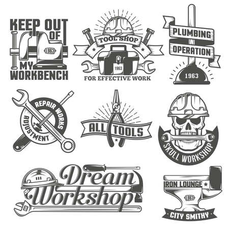 text tool: Set of vintage logos to repair workshop, tool shop or something. The text on a separate layer - easy to replace.