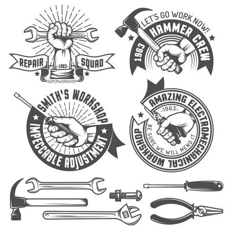 layer style: Repair workshop logo with hands and tools in vintage style. Hand tools. Text on a separate layer - easy to replace.