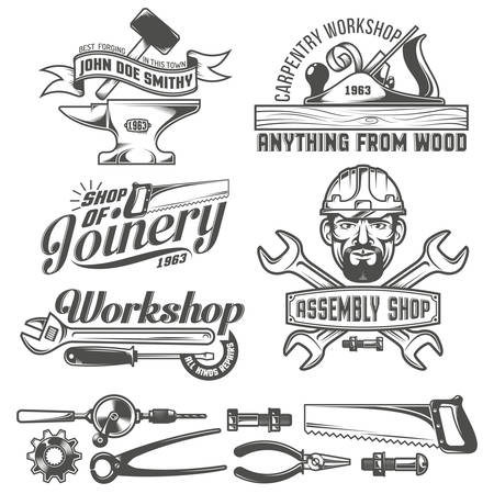 Logos with working tools. Emblems carpentry workshop, forge, assembly shop. Worker tools. Text on a separate layer - easy to replace. Vectores