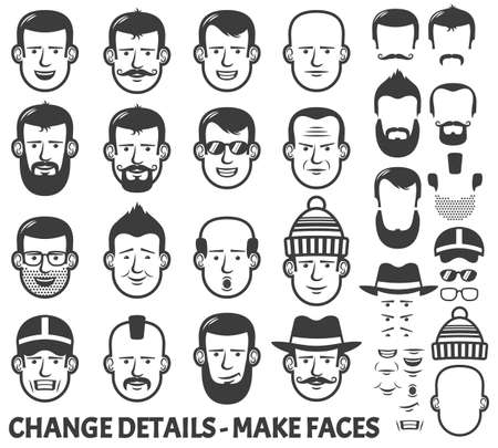 whisker characters: Men head and face constructor. All parts separately - just ungroup them, change the parts places and have new faces!
