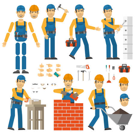 desired: Worker in various poses. Customizable Worker with tools and work clothes. Set yourself desired pose.