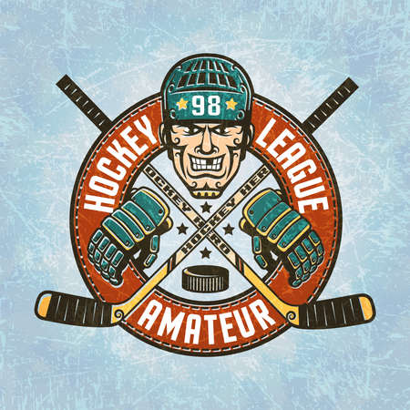 Hockey logo - a head of the hockey player wearing a helmet, crossed hockey sticks, hockey gloves, puck and circular banner. Texture on separate layers and easily disabled.Text can be removed. Vettoriali