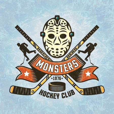 goalie: Logo for hockey team - retro Goalie mask crossed hockey sticks, puck, hockey player silhouettes, vintage ribbon. Texture on separate layers.Text grouped separately and can be removed.