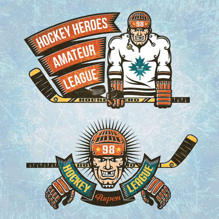 ice hockey player: Logos Amateur Hockey League. Ice hockey player with  stick in his hands and vintage ribbon. Head of hockey player with a retro banner. Texture of ice on separate layers and easily disabled.Text grouped separately and can be removed.