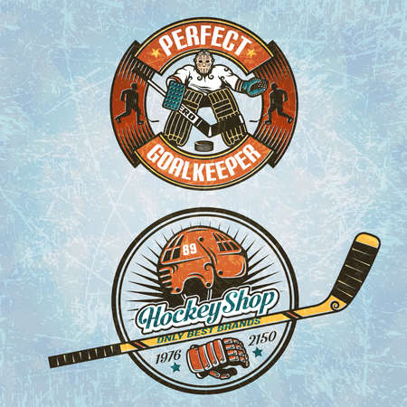 hockey equipment: Logo with hockey goalkeeper. Logo for hockey equipment shop or for hockey team. Texture of ice on separate layers and easily disabled.Text grouped separately and can be removed.
