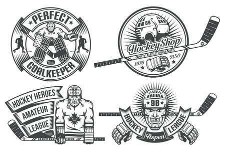 Hockey logos with the goalkeeper and hockey players in vintage style. The text is grouped separately and can be replaced. Vettoriali