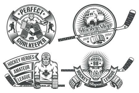 Logo hokejowe z bramkarzem i hokeja w stylu vintage. Tekst jest zgrupowany oddzielnie i może być wymieniony.