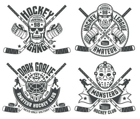 Hockey logos with helmets, goalie masks, sticks, hockey gauntlet. Text grouped separately and can be replaced. Illustration