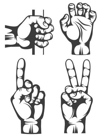 Hand gestures in stamp style. Pointing hand, grabs hand, victory gesture, hand holding stick.