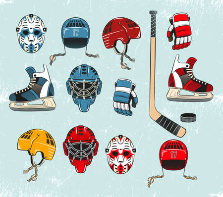 hockey equipment: Hockey objects painted in a realistic style cartoon and brightly colored. Hockey equipment on the ice. Ice texture grouped separately and can be easily removed.