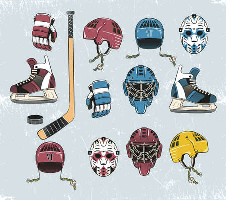 hockey equipment: Hockey equipment in a classic retro style. Stick, helmet, hockey gloves, goalie mask, puck, skates.