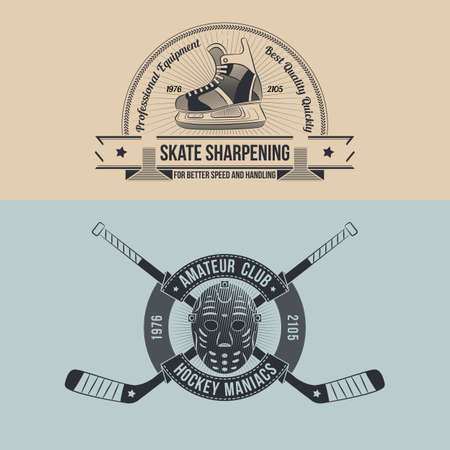 sharpening: The emblem of the hockey club with retro goalie mask and crossed sticks. Logo sharpening skates in old-school style.