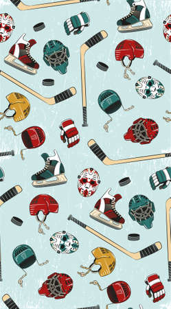 hockey equipment: Hockey seamless pattern - colorful, bright hockey equipment on ice. Helmets, sticks, gloves, pucks, goalie masks, skates in color pattern. Ice background grouped and can be easily removed.
