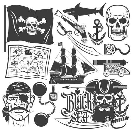Pirate set for logos. Blackbeard. Logo with skull. Pirate Captain. Skull with a beard.