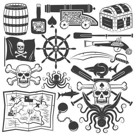 jolly roger: Bundle objects for design pirate logo. Pirate logo with a skull, an anchor, shark, octopus, oars. Jolly Roger. Illustration
