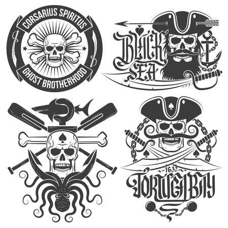 calavera pirata: Un conjunto de emblemas pirata con el cráneo. Logotipos cráneos en estilo de la vendimia. Ideal para impresión en camisetas.
