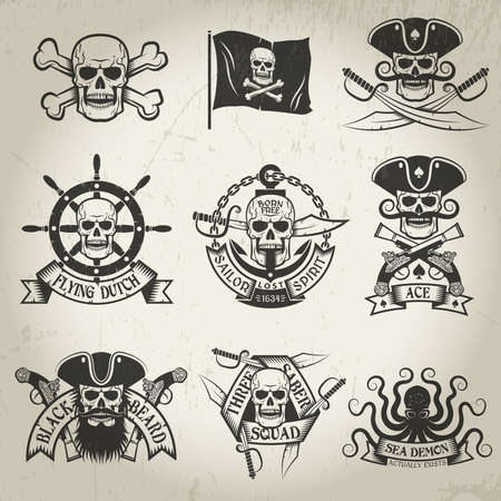 Pirate signs set. Jolly Roger, skull and crossbones, pirate flag, crossed sabers, sea demon, skull in a cocked hat. All logos can be easily disassembled. Shabby textures and backgrounds on a separate layer and can be easily removed.
