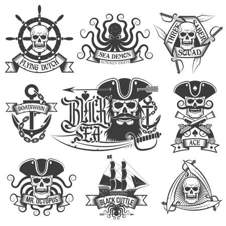 jolly roger pirate flag: Pirate tattoo set. Unique pirate logos, perfect for t-shirt.